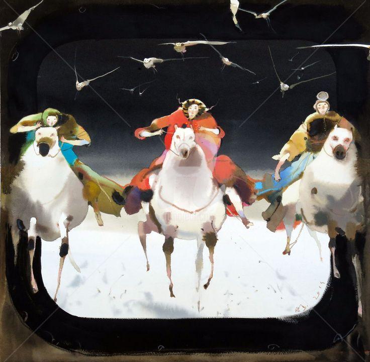 """всадники  50x50 cm 2014 Alexander Votsmush Картина из серии """"Питер космос"""""""