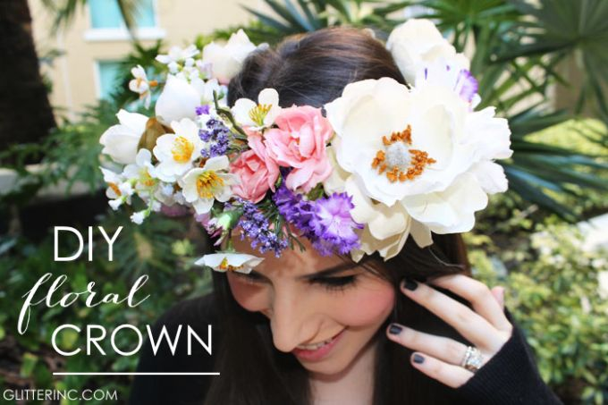 DIY Flower Crown {How to Make a Floral Crown} - Glitter, Inc.- I like that this one is just a half-crown and attaches with a ribbon. Would be pretty worked into her braid.