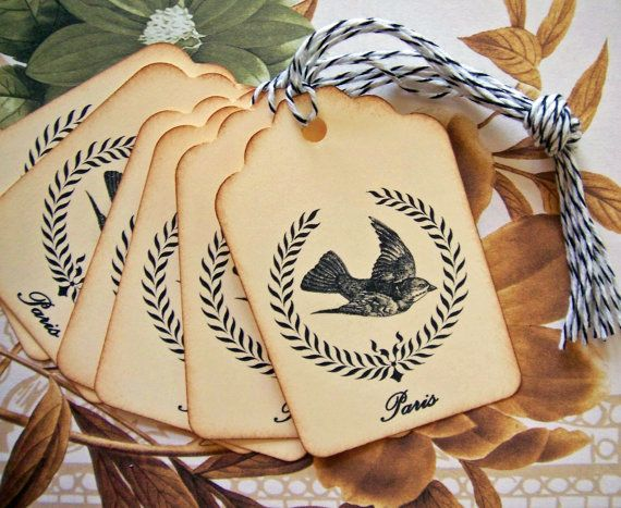 Tags Vintage Style Paris Gift Tags or Price Tags by bljgraves, $5.00