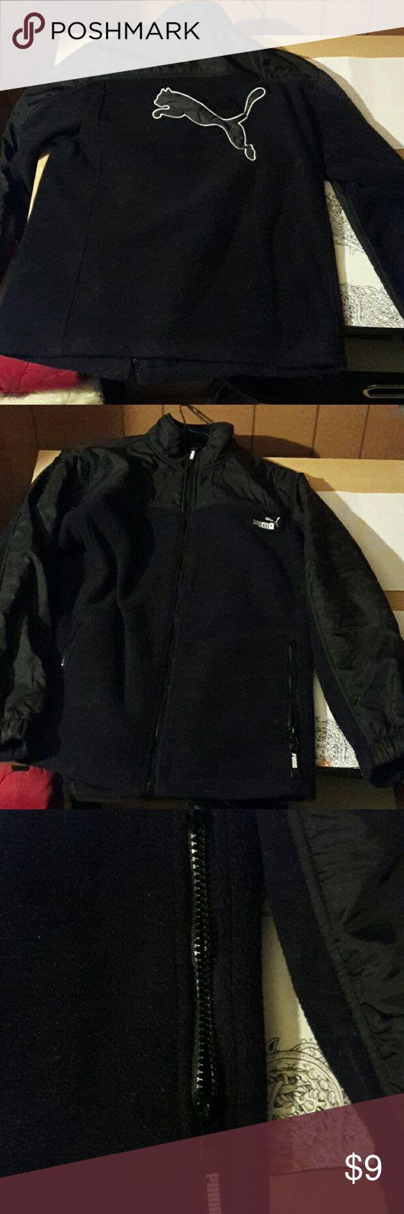 Fleece boys jacket Boys black puma sweatshirt jacket. Fleece. Really nice, excellent condition.  2 side zip pockets. Very soft. Puma Tops Sweatshirts & Hoodies