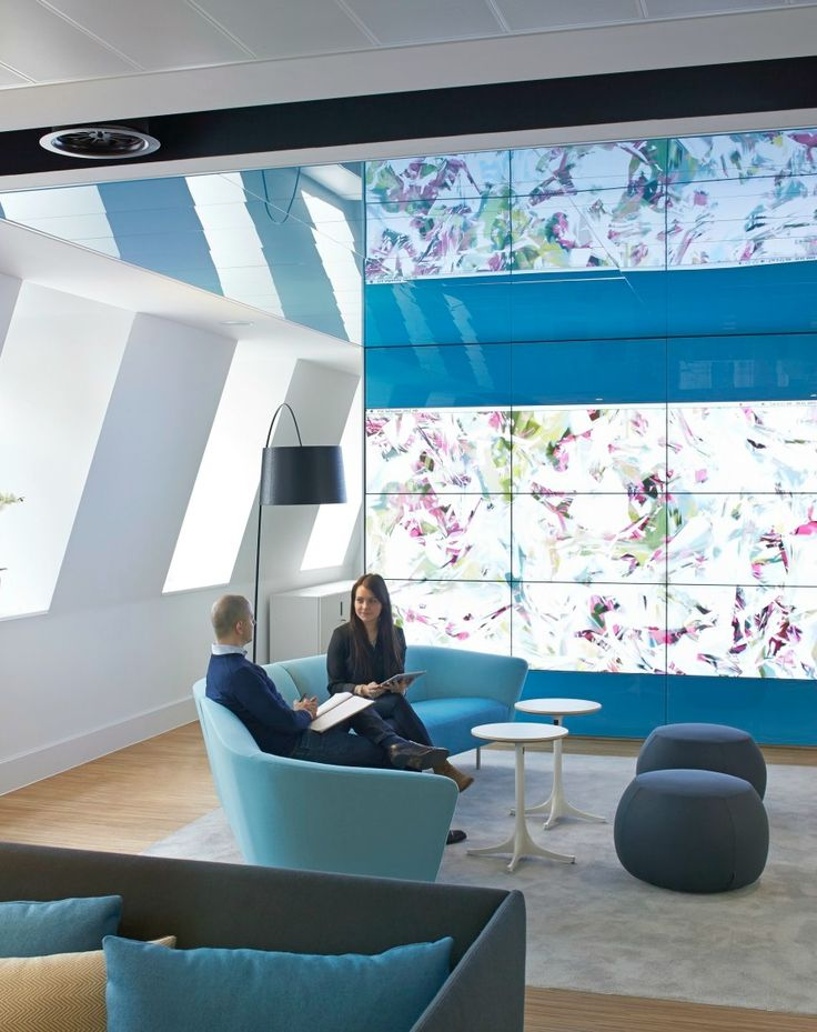 LED Video Wall >> Cool reception areas >> We installed this 3 x 3 LED entrance display system in the reception of Johnson & Johnson's pioneering innovation centre. See more of this stunning office strip out and fit out on our website...