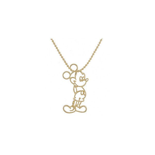 Disney Couture Mickey Mouse Gold Finish Silhouette Necklace Jewelry (565  HNL) ❤ liked on Polyvore featuring jewelry, necklaces, accessories, bijoux,