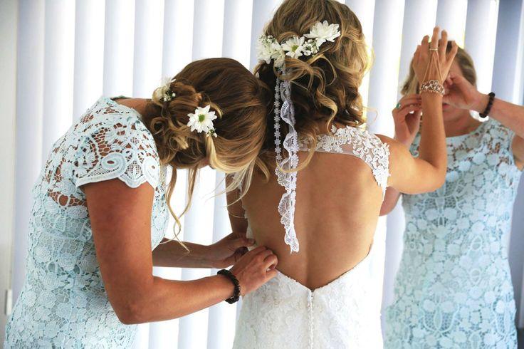 Boho beach wedding hair~~flowers and lace