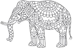 Craft wildly pretty looks with this elephant design, filled with pretty mehndi-style details! Downloads as a PDF. Use pattern transfer paper to trace design for hand-stitching.