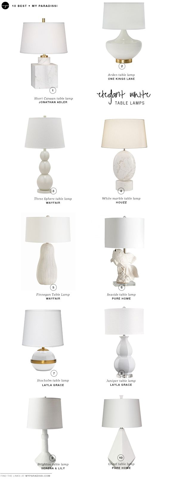 10 BEST: Elegant white table lamps