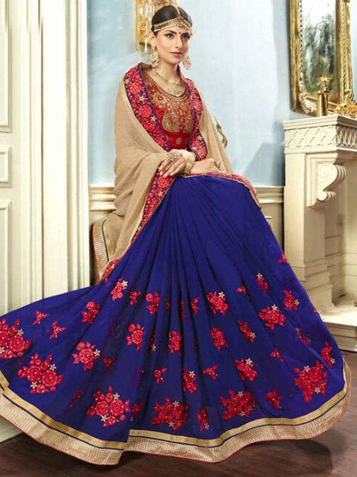 exclusive bordered party wear bollywood saree fabric georgette | eBay