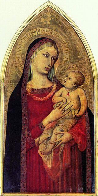 Ambrogio Lorenzetti - Madonna col Bambino e Santi - oro e tempera su tavola - 1332 - Galleria degli Uffizi, Firenze, Italia