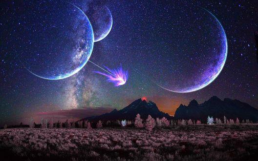 Обои Парад планет солнечной системы в звездном, ночном небе с необычной яркой вспышкой над горным образованием с растущими в предгорье деревьями
