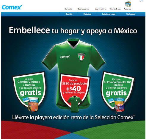 Promoción Comex: Recibe Playera Gratis Selección Mexicana Promoción Comex:Visita tu tienda Comex y compra uno de los siguientes combos disponibles para llevarte una playera totalmente gratis: > Combo Vinimex + Rodillo > Combo Esmalte 100 + Rodillo ó también por cada $350 de compra llévate ... -> http://www.cuponofertas.com.mx/oferta/promocion-comex-recibe-playera-gratis-seleccion-mexicana/