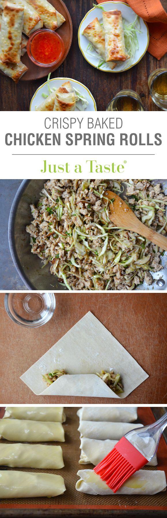 Crispy Baked Chicken Spring Rolls #recipe on justataste.com