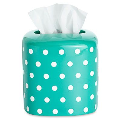 A fun, polka-dotted tissue holder, like this one from PB Teen, brightens up any dull bathroom sink. #Bathroom #Decor