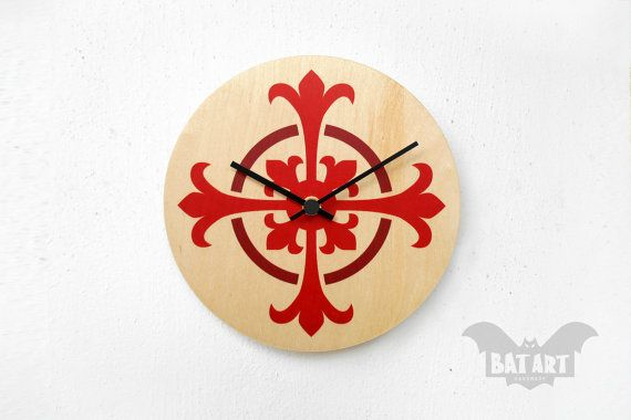 BAT Wall Clock 20cm  medieval pattern  Black metal hands by BatLab