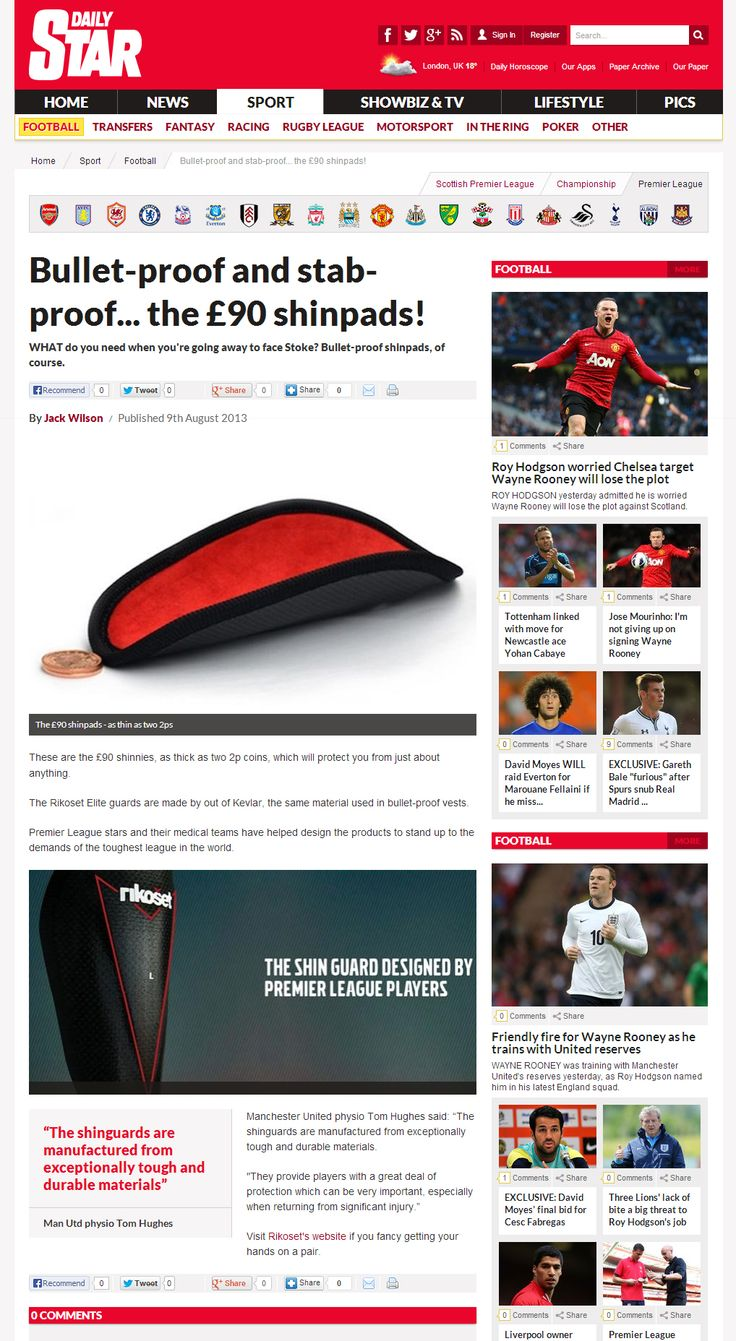 The Daily Star cover The Rikoset Elite Shin guards - http://www.rikoset.co.uk/elite-handcrafted-limited-edition/