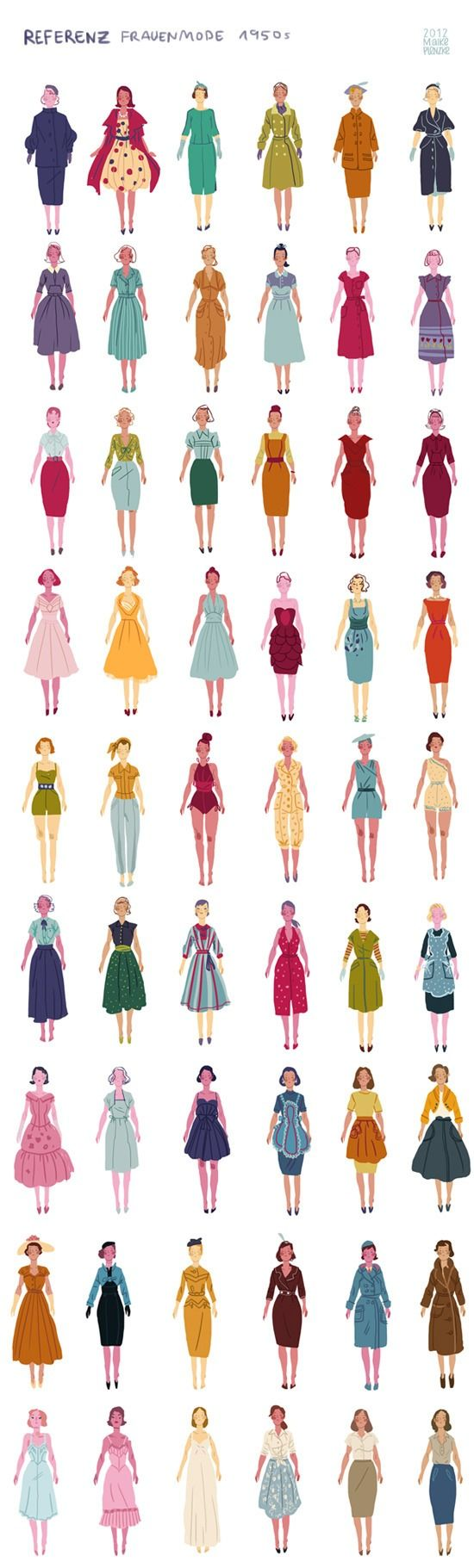 This is really rough and sketchy, but it looks kinda nice in whole, so I post it here… This is what I was doing for the last days. Researching 1950s clothing for my bachelor thesis/project (I'm not...