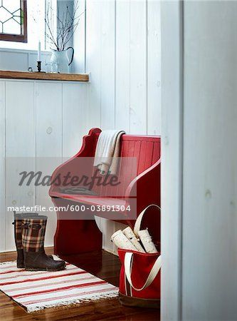 Stock photo of Rubber Boots and Red Bench, Odessa, Loyalist, Ontario, Canada; Premium Royalty-Free, 600-03891304 © Yvonne Duivenvoorden / Masterfile. All rights reserved.