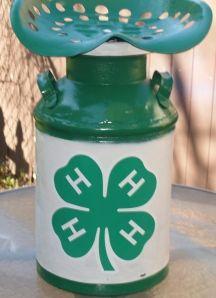 4-H Youth Organization retro milk can/tractor seat art fundraiser