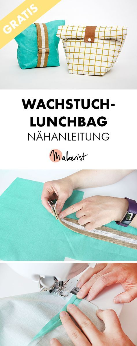 Free sewing instructions for a lunchbag with oilcloth via Makerist Magazine # …   – Nähanleitungen