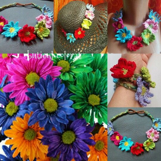 New style, new uses for my wild flowers crown : african daisy crown, necklace, bracelet and hat accesory....why not ;)