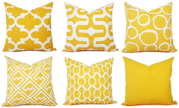 Two Yellow Throw Pillow Covers - Yellow Decorative Pillows - 18 x 18 Inch Couch Pillows - Yellow Cushion Cover - Yellow Accent Pillow