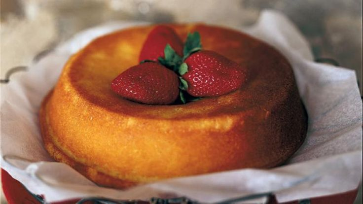 Maggie Beer's buttermilk cake with strawberries