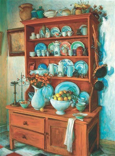 Interion, Margaret Olley. Oil on board, 120.0 x 90.0 cm, Paddington, Sydney.