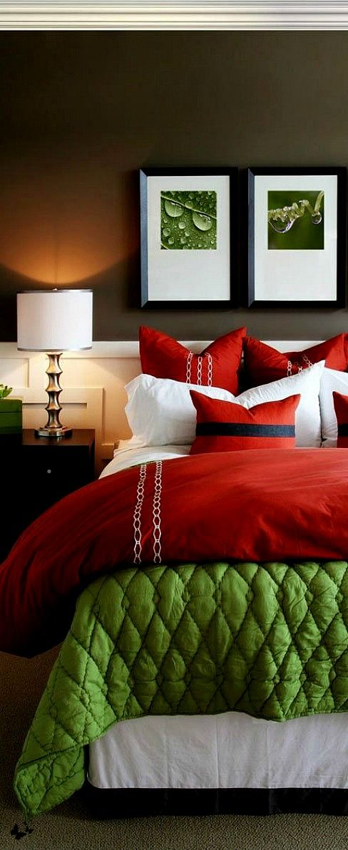 Check out this delectable bedroom. It's magic comes from using the same tone and intensity of brown, red, and green. Barbara Wirth Art applauds the crisp white as a contrast in the picture mats, which is repeated in the dust ruffle and lampshade. What a beautiful bedroom!