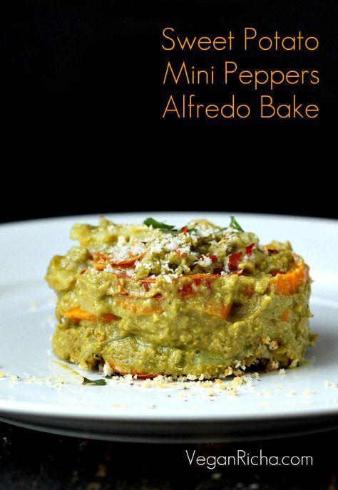 Sweet Potato Mini Peppers Spinach Alfredo Bake. Vegan Glutenfree Grainfree Recipe - Vegan Richa