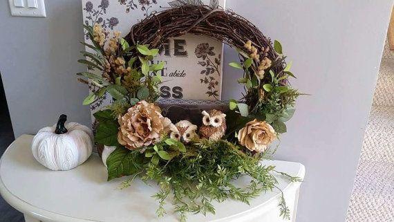 Owl Wreath Indoor Wreath Front Door Decor ForHolidays Porch