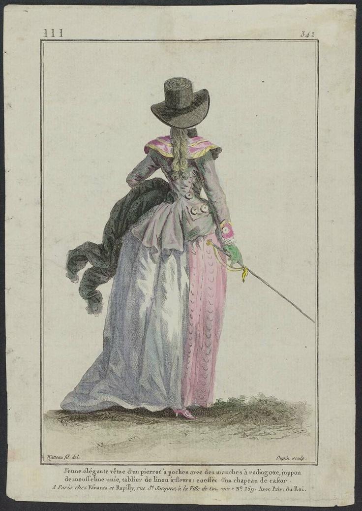 """Gallerie des Modes et Costumes Français. 54e Cahier de Costumes Français, 48e Suite d'Habillemens à la mode en 1787. III.34, """"Jeune élégante vêtue d'un pierrot..."""""""
