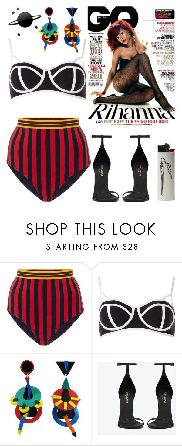 """""""Playtime"""" by pegasusblack on Polyvore featuring STELLA McCARTNEY, Dorothy Perkins, Yves Saint Laurent, Sexy, swim, Rihanna and gq"""