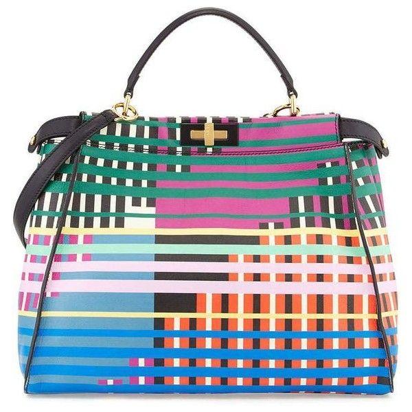 Fendi Peekaboo Large Printed Tote Bag, Multicolor | bags | Pinterest |... ❤ liked on Polyvore featuring bags, handbags, tote bags, tote purses, fendi purse, handbags totes, multi colored handbags and multi coloured handbags