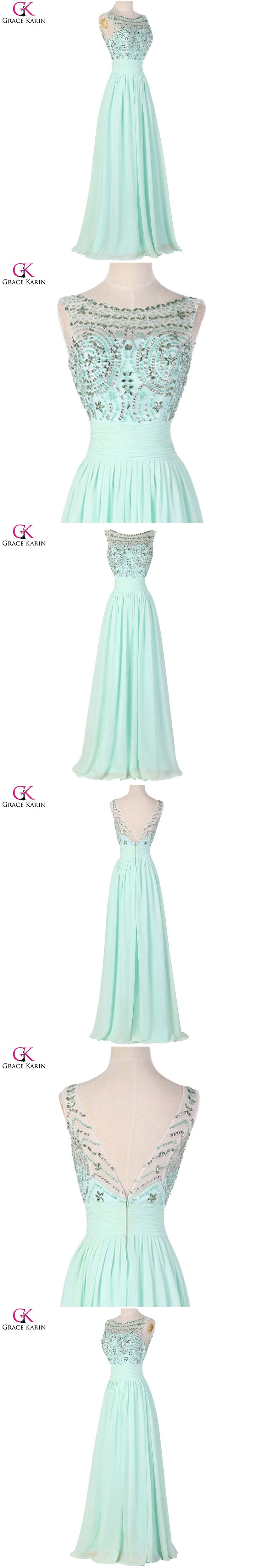 Grace Karin Turquoise Chiffon Sexy Backless Evening Dresses Long Party Prom Dresses 2017Abendkleider Formal Dinner Dress A7532