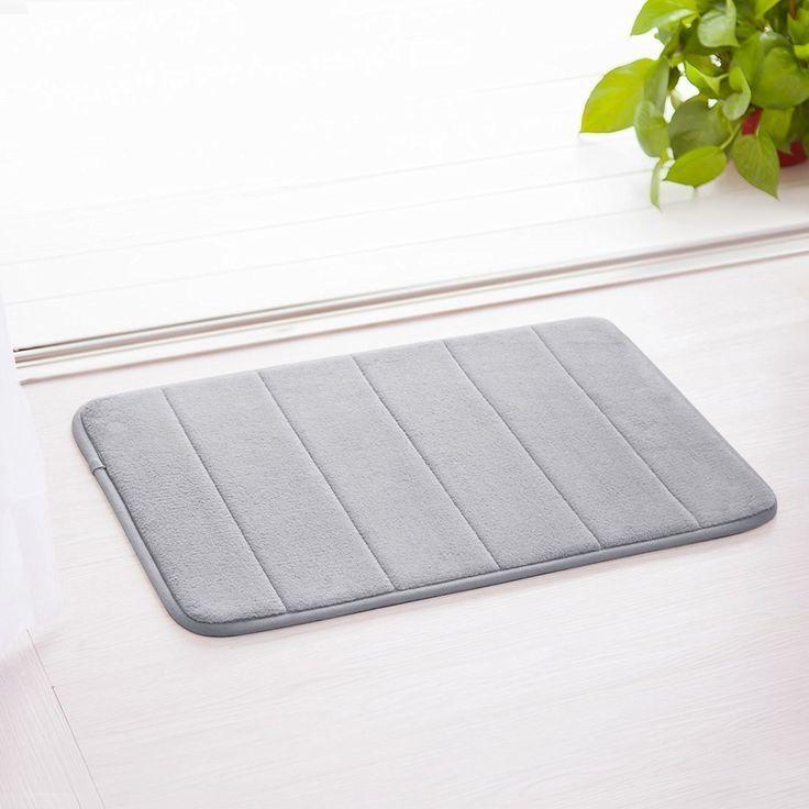 Wejścia f dno Sport Coral aksamit mikrofibry Memory Foam dywanik łazienkowy/Pure Color zapewnia przestrzeń życiową/miękki i chłonny dywan z antypoślizgowy spód 1Pack, szary, 1 opakowanie: Amazon.de: Küche & Haushalt