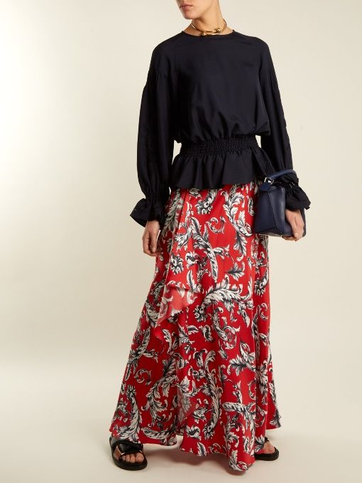 GABRIELLE'S AMAZING FANTASY CLOSET |  J.W.Anderson's Red Satin Maxi Skirt in a Black & White Vintage-Style Floral Print. It sits High on the Waist with an Ultra-Wide, Soft Waistband and Falls in Asymmetric Folds to the floor. Pair it with a Navy Twill Blouse with Floral-Embroidered Sleeves and Joue-échelle Bell-Cuff Trims. Wear Favorite Silver Jewelry Pieces and finish with Ballet High-Top Canvas and Leather Flats and a Silver Bucket Bag (It's all on this board). Got to Love it - Gabrielle
