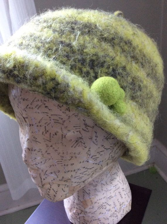 kiwi felted toque in double strand wool by yarnling on Etsy