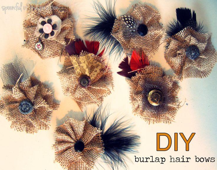 DIY vintage burlap hair bows {via a Spoonful of Imagination}