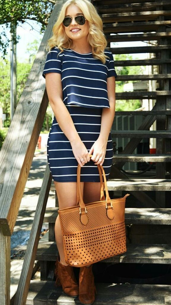 Navy striped two piece set