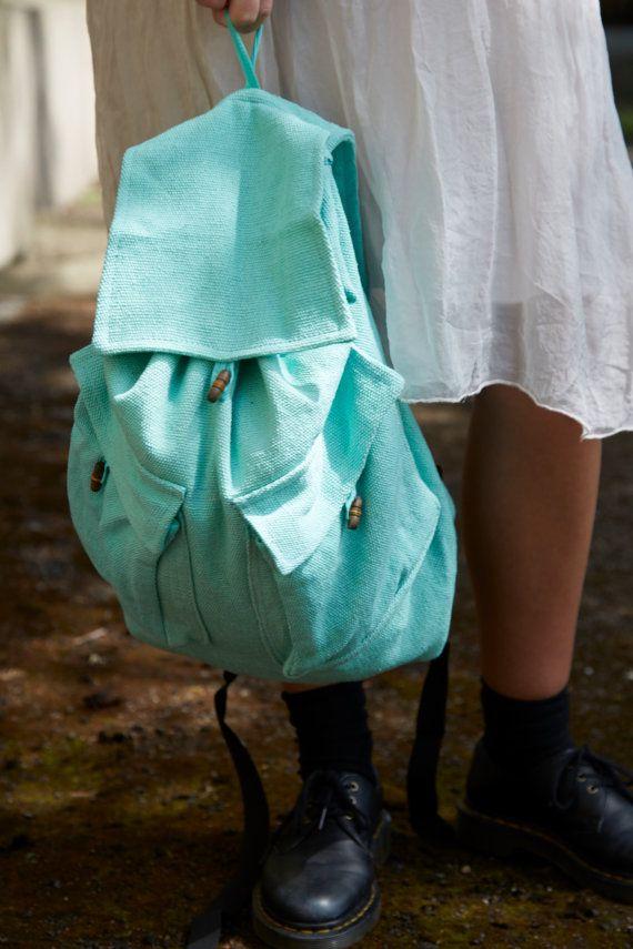 Sac à dos sac turquoise menthe poivrée coton Duffle par JOZOSHOP