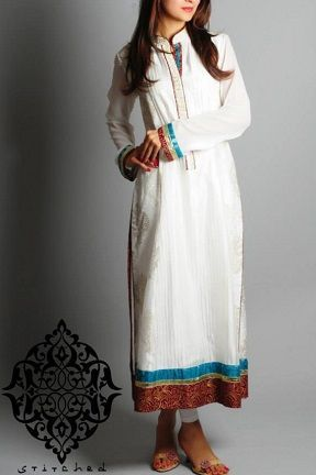 Stylish White Pakistani Clothes by Stitched Stories 2014