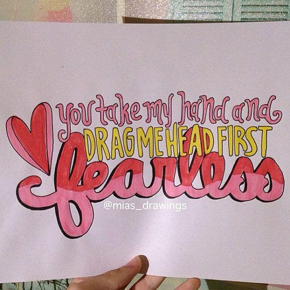 Fearless- Taylor Swift lyric art on Etsy, $4.92