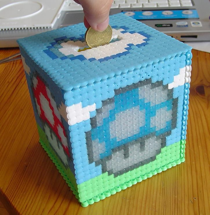 17 best images about perler beads ideas perler bead perler coin box if you could make it like the mario coin block that would be so awesome perler beads piggy bank perler bead ideas