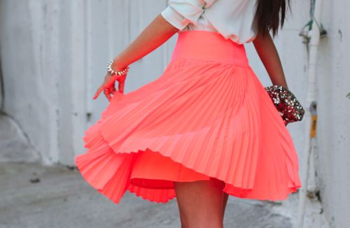 Earrings, necklace, or bracelets? What jewelry pieces would you add to compliment this neon pleated mini skirt?!