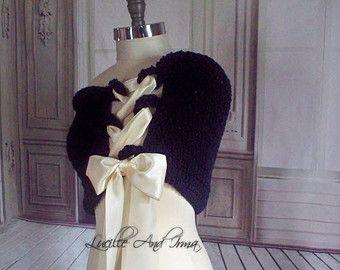 Encogimiento de hombros de tul negro boda chal Tulle nupcial