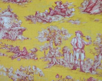 Yellow Pink and White Toile - Toile -  Fabric By The Yard - Designer Toile - Cotton Toile