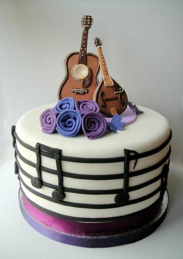 Leckere Musik lila rosen Torten gitarre weiß glasur