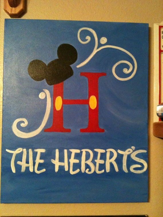 Handpainted Mickey Mouse monogram canvas by jinatrahan on Etsy!!!  <3