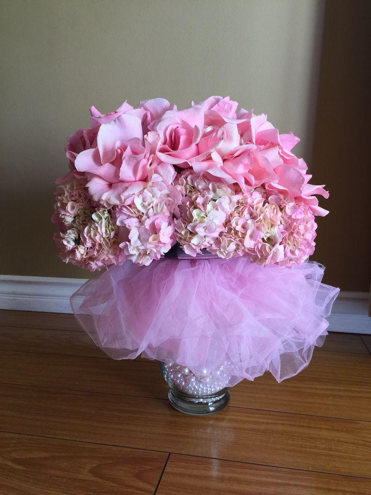 Light Pink Tutu Centerpiece With Pearls Hydrangea And Roses. Tutu  CenterpiecesPink TutuBaby Shower ...
