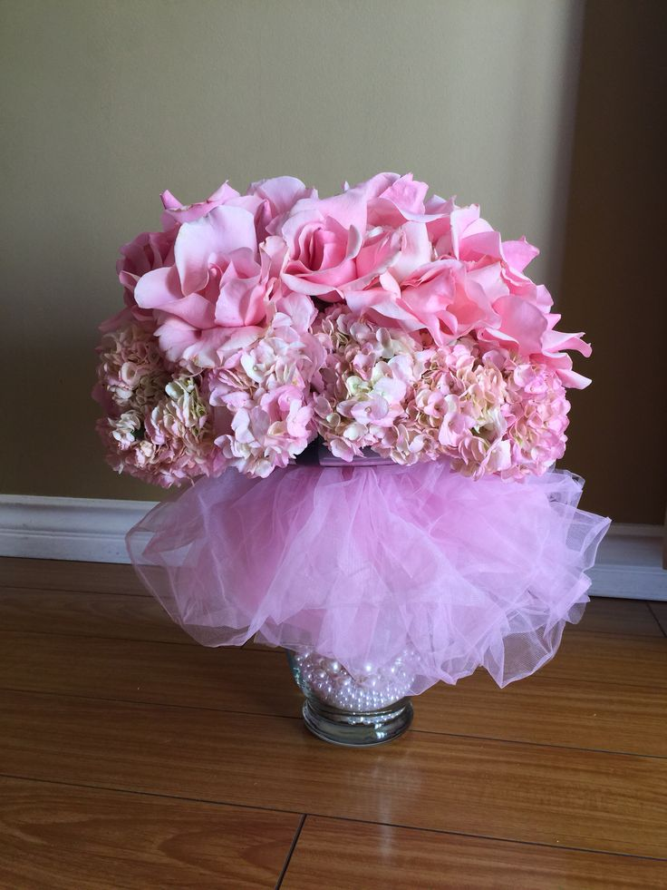 Light pink tutu centerpiece with pearls hydrangea and