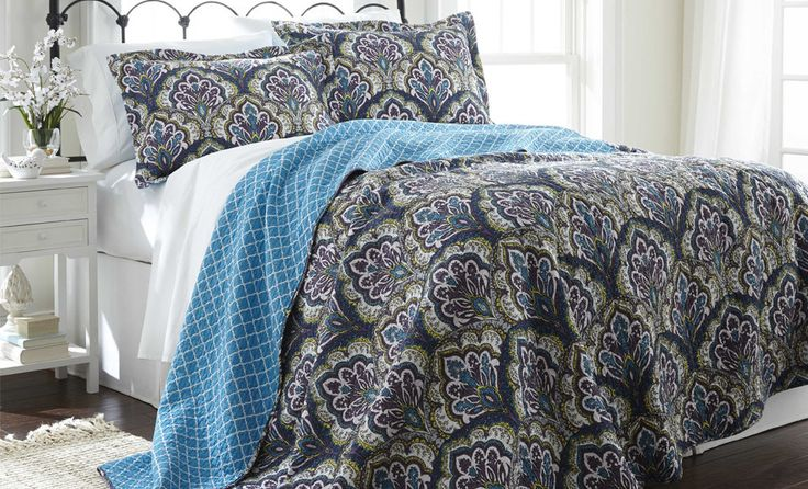 100% Cotton 3 Piece reversible quilt Set Carly Full/Queen