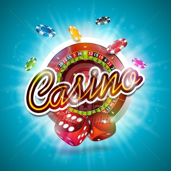 Graphic_152_44 Vector illustration on a casino theme with color playing chips, roulette wheel and red dices on blue background. - Royalty Free Vector Illustration